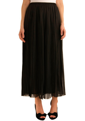 Com-pleat Thought Skirt - Black, Solid, Pleats, Casual, Urban, Spring, Summer, Fall, Long, Maxi