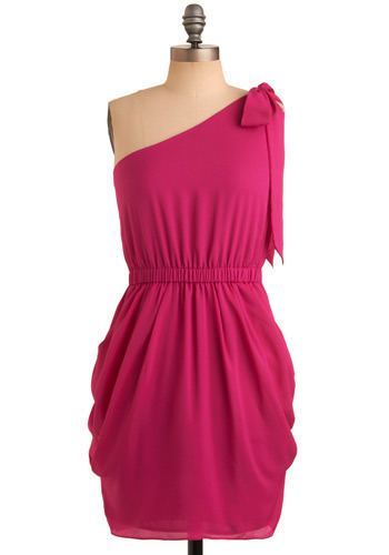 You Are the Best Dress - Pink, Solid, Bows, Wedding, Party, Casual, Shift, One Shoulder, Short