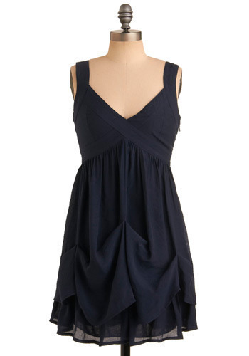 Food Cart Connoisseur Dress - Blue, Solid, Ruffles, Casual, Empire, Spaghetti Straps, Tank top (2 thick straps), Mid-length