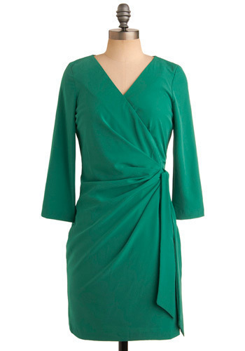 Made in Jade Dress - Green, Solid, Wedding, Casual, Shift, 3/4 Sleeve, Mid-length