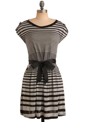 Nautical Nights Dress - Black, Grey, Stripes, Bows, Epaulets, Casual, A-line, Cap Sleeves, Short