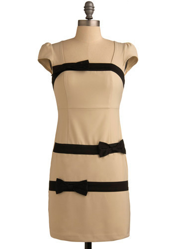 Major Scale Dress - Cream, Black, Bows, Formal, Party, Work, Casual, Sheath / Shift, Cap Sleeves, Spring, Summer, Short