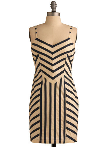 Any Which Way Dress - Cream, Blue, Stripes, Party, Casual, Shift, Tank top (2 thick straps), Short