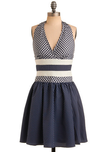 What a Charmer Dress - Blue, White, Polka Dots, Checkered / Gingham, Eyelet, Pleats, Casual, Rockabilly, Vintage Inspired, A-line, Empire, Twofer, Halter, Mid-length