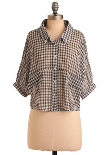 Artistic Activity Top - Black, White, Checkered / Gingham, Casual, Urban, Short Sleeves, Short