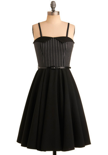 Twirling Temptress Dress - Black, White, Stripes, Casual, A-line, Strapless, Long