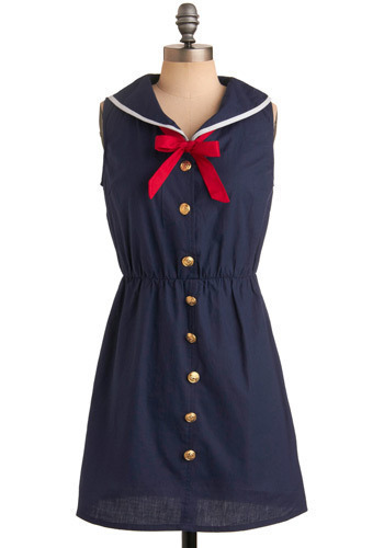 Vixen Voyage Dress - Blue, Red, White, Bows, Buttons, Casual, Nautical, A-line, Sleeveless, Spring, Summer, Short
