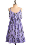 Cage of Aquarius Dress by Sugarhill Boutique - Purple, Multi, Print with Animals, Novelty Print, Print, Ruffles, Casual, A-line, Empire, Spaghetti Straps, Spring, Summer, Mid-length, International Designer