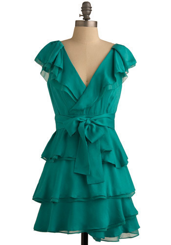 Veridian Verity Dress - Green, Solid, Bows, Ruffles, Tiered, Formal, Wedding, Party, Casual, A-line, Sleeveless, Tank top (2 thick straps), Spring, Summer, Short
