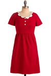 Strawberry Waffles Dress - Red, White, Buttons, Casual, A-line, Shirt Dress, Short Sleeves, Vintage Inspired, 50s, 60s, Scallops, Mid-length