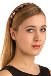 String of Sparklers Headband - Orange, Black, Casual, Luxe