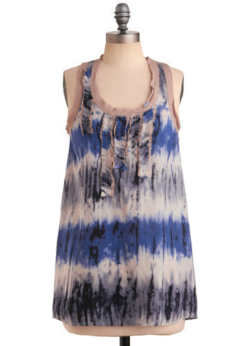 Water You Waiting For Tank - Multi, Blue, Tan / Cream, Black, Grey, White, Stripes, Tie Dye, Ruffles, Trim, Casual, Tank top (2 thick straps), Spring, Summer, Long