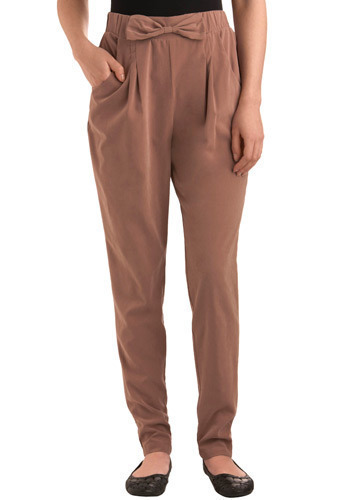 Another Day to Dress Up Pants by Nümph - Brown, Solid, Bows, Pleats, Formal, Work, Urban, Spring, Fall, Winter, Long