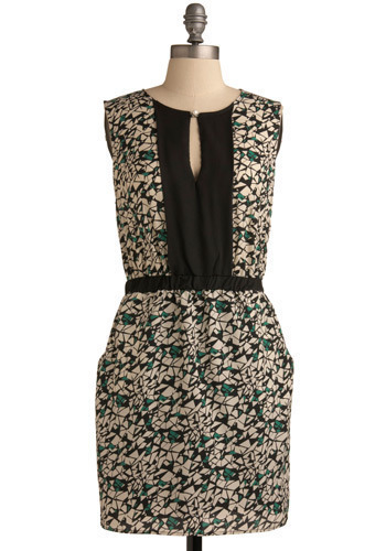 Mosaic Mo' Style Dress - Black, White, Green, Print, Cutout, Pearls, Casual, Sheath / Shift, Sleeveless, Mid-length