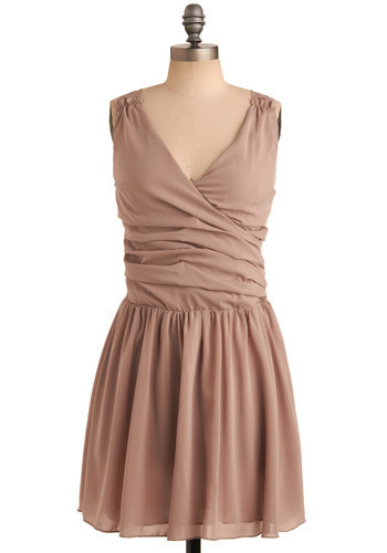 Whipped Mocha Dress - Brown, Solid, Formal, Wedding, Party, Luxe, A-line, Sleeveless, Mid-length