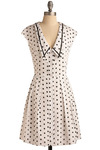 Weekend at Sea Dress - White, Black, Polka Dots, Casual, Nautical, Vintage Inspired, A-line, Cap Sleeves, Mid-length