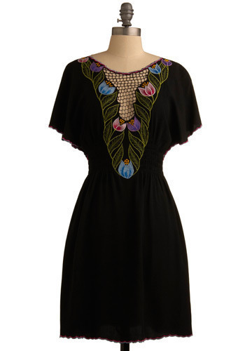 Midnight Del Mar Dress by Sugarhill Boutique - Black, Multi, Solid, Cutout, Embroidery, Scallops, Casual, A-line, Short Sleeves, Spring, Mid-length, International Designer