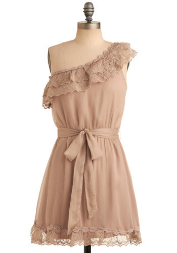 In With the Neutral Dress - Tan, Solid, Lace, Ruffles, Casual, A-line, One Shoulder, Short