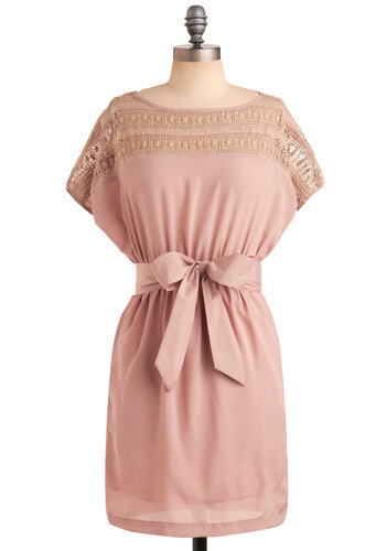 Pink Sand Beach Dress - Pink, Solid, Bows, Crochet, Lace, Casual, A-line, Short Sleeves, Spring, Summer, Mid-length
