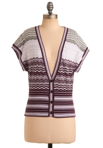 Cardi of Your Life Sweater - Purple, Grey, Stripes, Buttons, Casual, Short Sleeves, Spring, Summer, Fall, Short