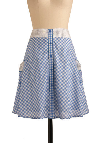 Blue Ribbon Pie Skirt - Blue, White, Polka Dots, Checkered / Gingham, Bows, Buttons, Casual, A-line, Spring, Summer, Mid-length