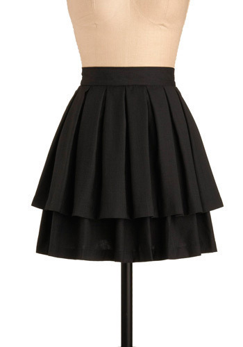 Pretty Pleats Skirt by BB Dakota - Black, Solid, Pleats, Tiered, Special Occasion, Work, Casual, Mini, Spring, Summer, Short