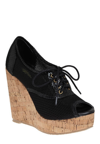 Get a Mesh Start Wedge - Black, Casual, Urban, Wedge