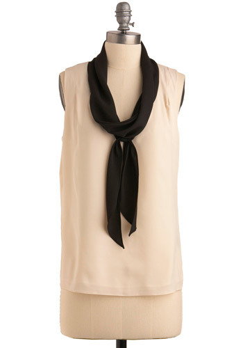 Count Me In Top - Cream, Black, Formal, Work, Urban, Sleeveless, Mid-length
