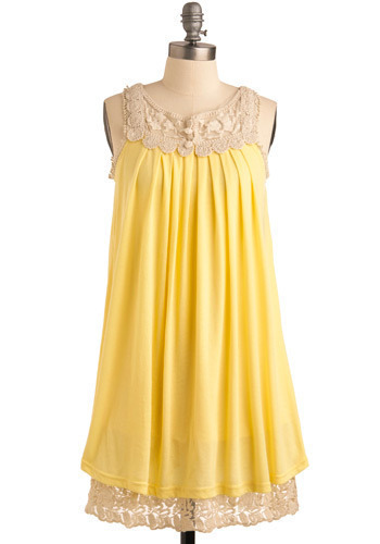 Sun Salutation Dress - Yellow, Tan / Cream, Crochet, Lace, Pleats, Casual, Tent / Trapeze, Sleeveless, Spring, Tiered, Solid, Mid-length