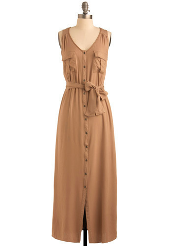 Gone to the Grasslands Dress - Tan, Solid, Buttons, Pockets, Casual, Urban, Maxi, Sleeveless, Spring, Summer, Fall, Long