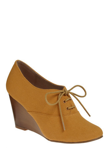 Showered in Compliments Wedge in Sunrays | Mod Retro Vintage Wedges | ModCloth.com :  wedge oxfords saffron faux wood