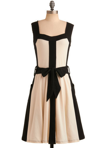 In Line With Style Dress by Effie's Heart - Bows, Wedding, Party, Casual, A-line, Tank top (2 thick straps), Tan / Cream, Black, Long