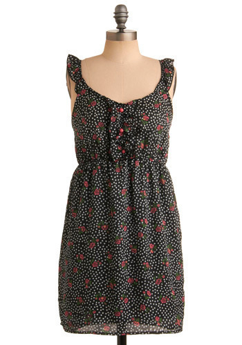 Rose the Roof Dress - Black, Green, Pink, White, Polka Dots, Floral, Buttons, Ruffles, Casual, Empire, Sheath / Shift, Tank top (2 thick straps), Spring, Summer, Short