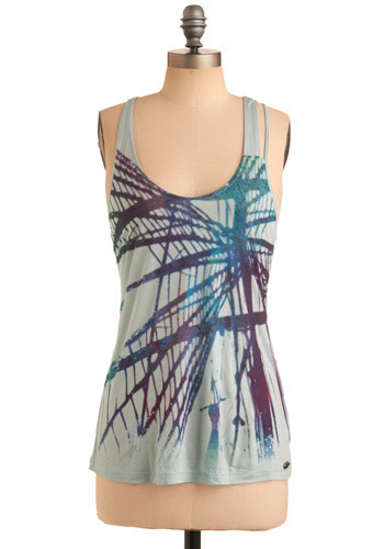 Darkroom Print Top by Gentle Fawn - Blue, Multi, Red, Green, Purple, Casual, Racerback, Mid-length