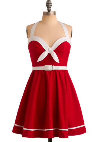 Sailing into the Sunset Dress in Cherry by Pinup Couture - Red, White, Formal, Wedding, Party, A-line, Halter, Spring, Summer, Short