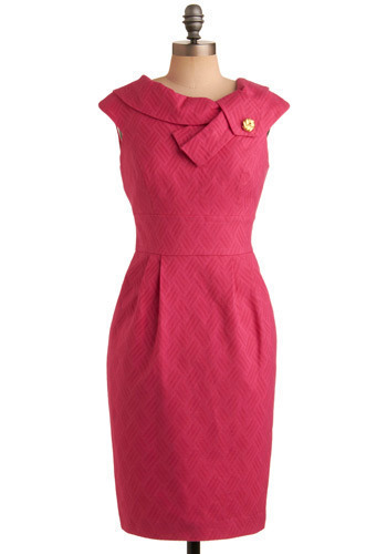 Royal Introduction Dress - Pink, Solid, Buttons, Pleats, Wedding, Party, Work, Shift, Cap Sleeves, Long