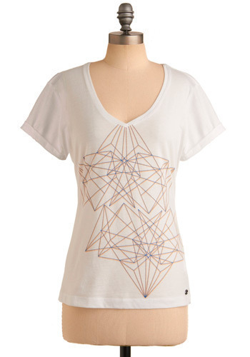 Orientation Week Tee in Monday by Gentle Fawn - White, Orange, Blue, Print, Casual, Short Sleeves, Spring, Summer, Mid-length
