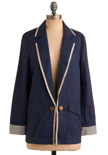 Captain Cute Blazer by Gentle Fawn - Blue, Tan / Cream, Solid, Stripes, Buttons, Chain, Trim, Work, Casual, Nautical, Urban, Long Sleeve, Fall, Pockets, Mid-length, 1, Press Placement