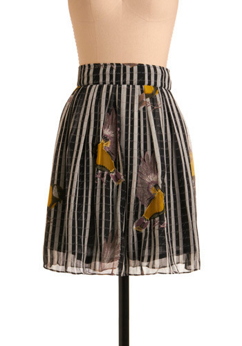 Ornithology Outing Skirt - Black, White, Multi, Yellow, Brown, Stripes, Print with Animals, Casual, A-line, Spring, Fall, Mid-length