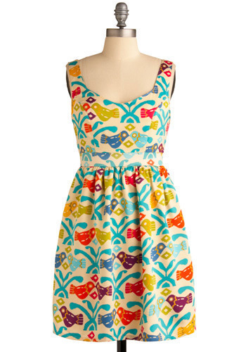 Girly Bird Gets the Dress - Cream, Multi, Red, Orange, Yellow, Green, Blue, Purple, Print with Animals, Novelty Print, Cutout, Pleats, Casual, A-line, Sleeveless, Tank top (2 thick straps), Spring, Summer, Short