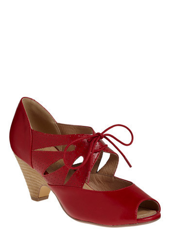 Cherry Sundae Heel - Red, Solid, Cutout, Casual