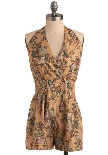 Idée Géniale Romper - Tan, Multi, Green, Brown, White, Floral, Buttons, Pleats, Pockets, Casual, Vintage Inspired, Halter, Spring, Summer, Long