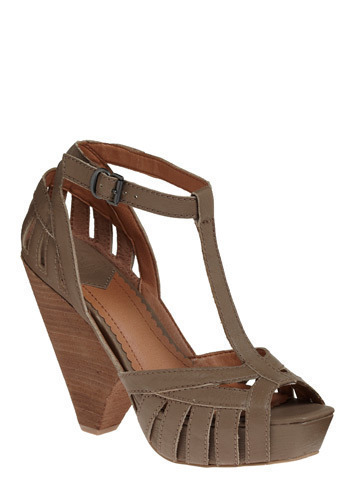 Recap T-Strap - Tan, Grey, Solid, Buckles, Cutout, Party, Casual, Spring, Summer, Wedge, High, Best, T-Strap