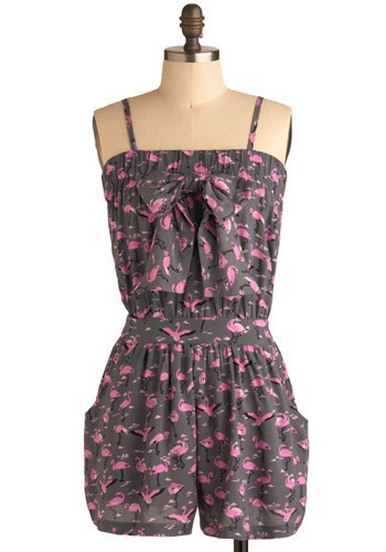 Stay or Flamingo Romper - Grey, Pink, Print with Animals, Bows, Casual, Spaghetti Straps, Spring, Summer, Long