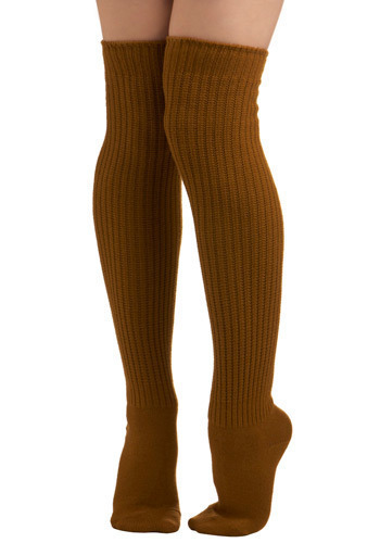 Second Semester Socks in Mustard - Tan, Solid, Knitted, Casual