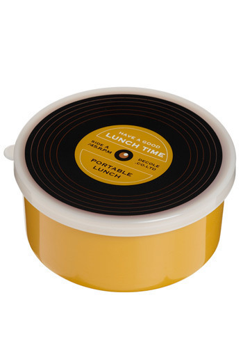 Vinyl Vittles Bento Box - Yellow, Black, White, Vintage Inspired