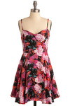 Watering Roses Dress by Mink Pink - Multi, Red, Orange, Green, Purple, Pink, Black, Floral, Casual, A-line, Spaghetti Straps, Spring, Summer, Short