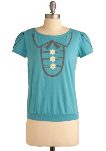 Tee Ceremony Top - Blue, Grey, White, Print, Casual, Short Sleeves, Spring, Summer, Mid-length