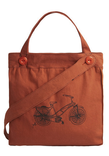 One Way Ticket Bag in Bike - Orange, Black, Buttons, Casual