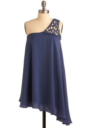 The Sway We Were Dress - Blue, Solid, Party, Casual, Tent / Trapeze, One Shoulder, Spring, Summer, Long